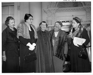 Mamie Eisenhower receives officers of the National Council of Negro Women. November 12, 1953.
