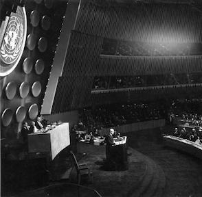 December 8, 1953 - Dwight D. Eisenhower delivering his Atoms for Peace speech before the U.N. General Assembly.