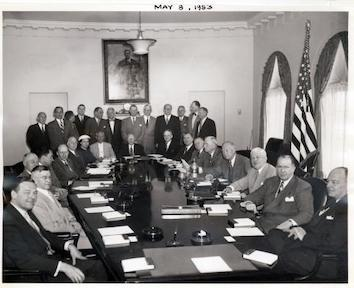 Dwight D. Eisenhower and members of the Cabinet and Administrative Assistants are pictured in the Cabinet Room of the White House. May 8, 1953.