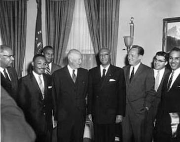 June 23, 1958 - Dwight D. Eisenhower receives a group of prominent civil rights leaders. Left to Right: Lester Granger,  Dr. Martin Luther King, Jr., E. Frederic Morrow, Dwight D. Eisenhower, A. Philip Randolph, William Rogers, Rocco Siciliano, and Roy Wilkins.