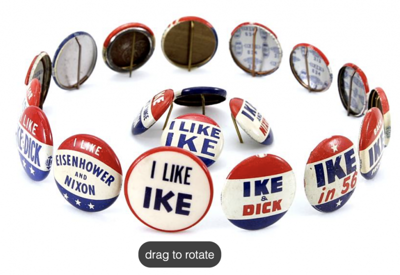 3D artifact photo example of Eisenhower campaign buttons