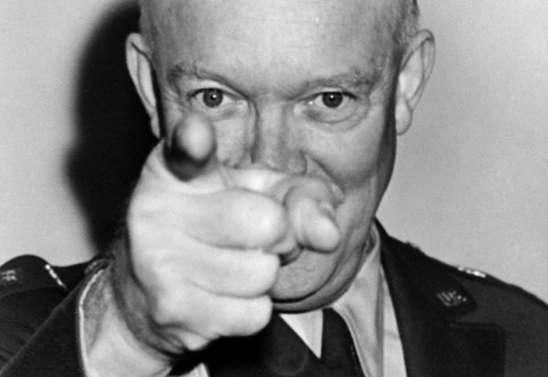 Close-up photo of Dwight Eisenhower pointing toward the viewer.