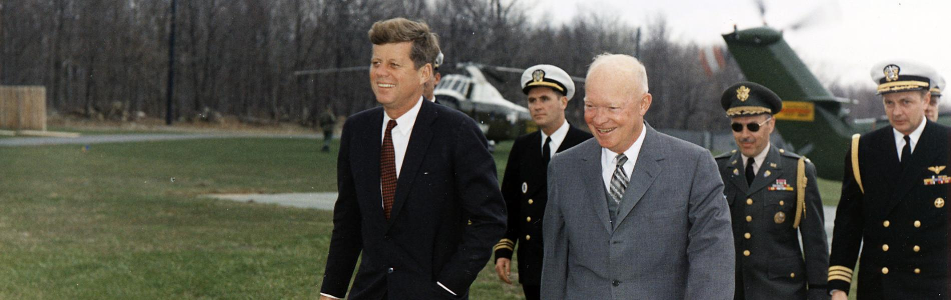 Meeting with President Eisenhower, President Kennedy, military aides, Camp David, MD