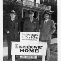 6.7.1947 Eisenhower brothers Arthur, Ike, Milton in front of the family home just prior to the public